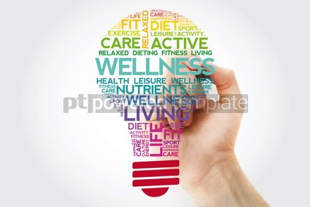 Health: WELLNESS bulb word cloud collage with marker health concept bac #11513