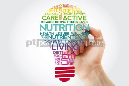 Health: Nutrition bulb word cloud collage with marker health concept ba #11514