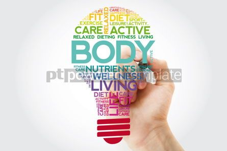 Health: BODY bulb word cloud collage with marker health concept backgro #11515