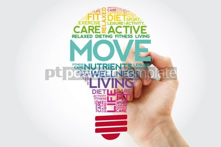 Health: MOVE bulb word cloud collage with marker health concept backgro #11516