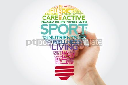 Health: SPORT bulb word cloud collage with marker health concept backgr #11517