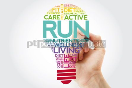 Health: RUN bulb word cloud collage with marker health concept backgrou #11518