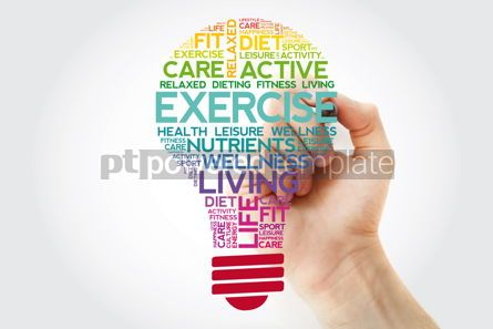 Health: EXERCISE bulb word cloud collage with marker health concept bac #11520