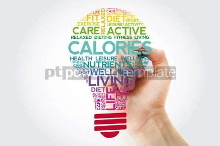 Health: CALORIES bulb word cloud collage with marker health concept bac #11521