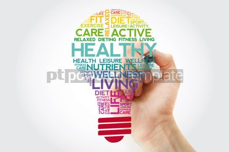 Health: HEALTHY bulb word cloud collage with marker #11523