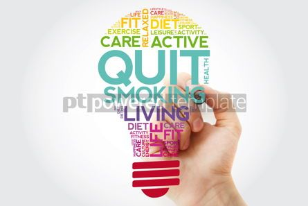 Health: Quit Smoking bulb word cloud collage with marker health concept #11524