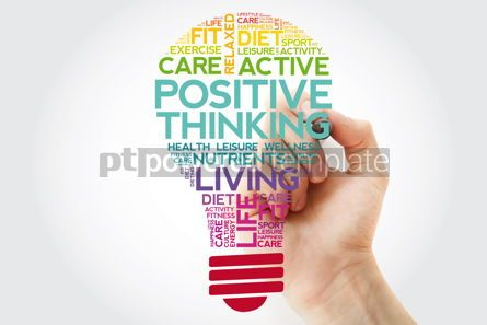 Health: Positive thinking bulb word cloud collage with marker health co #11525