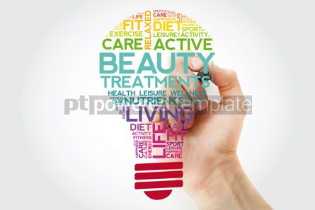 Health: Beauty Treatments bulb word cloud collage with marker health co #11526