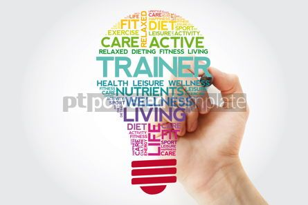 Health: TRAINER bulb word cloud collage with marker health concept back #11529