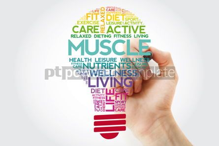 Health: Muscle bulb word cloud with marker health concept #11530