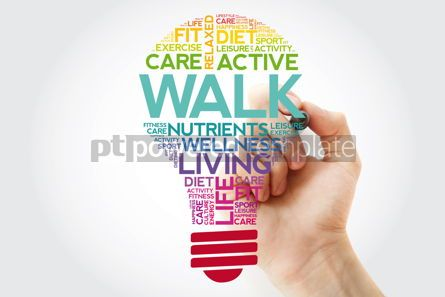 Health: WALK bulb word cloud collage with marker health concept backgro #11534