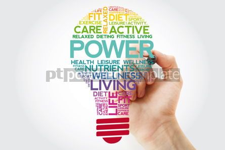 Health: POWER bulb word cloud with marker health concept background #11536