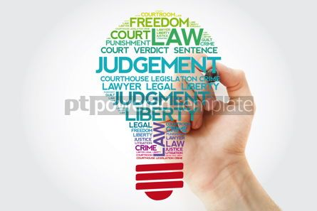 Business: Judgement bulb word cloud collage with marker law concept backg #11538