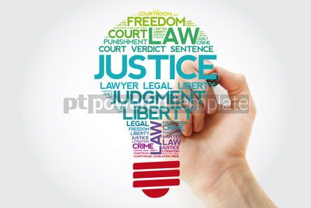 Business: Justice bulb word cloud collage with marker law concept backgro #11539