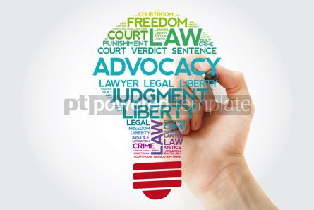 Business: Advocacy bulb word cloud collage with marker law concept backgr #11541