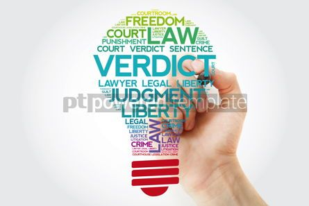 Business: Verdict bulb word cloud collage with marker law concept backgro #11545