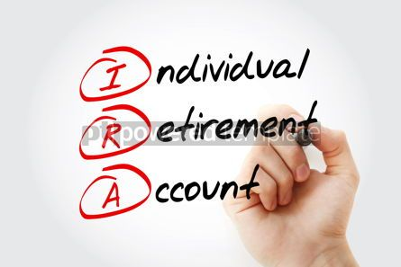 Business: IRA - Individual Retirement Account acronym with marker concept #11575