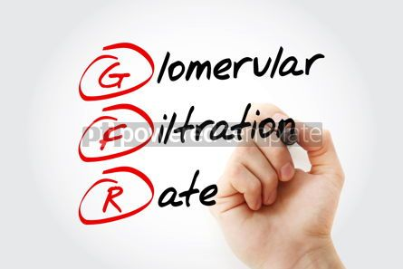 Education: GFR - Glomerular Filtration Rate acronym with marker concept ba #11611