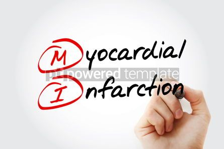 Education: MI - Myocardial Infarction acronym with marker health concept b #11617