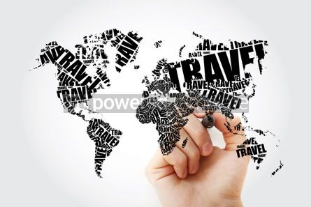 Business: TRAVEL word in shape World Map Typography word cloud with marke #11648