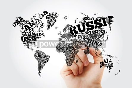 Business: World Map in Typography word cloud concept with marker names of #11650