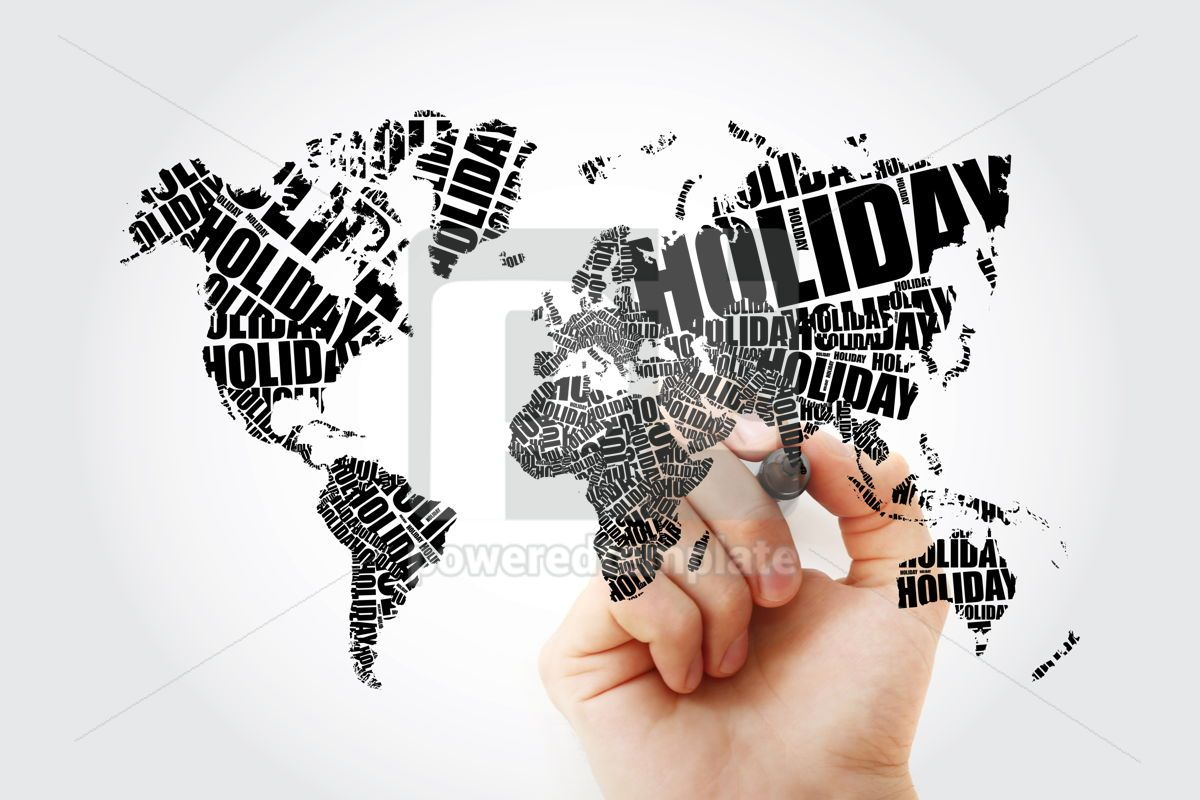 HOLIDAY word in shape of World Map Typography word cloud travel, 11651, Holidays — PoweredTemplate.com
