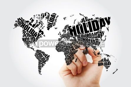 Holidays: HOLIDAY word in shape of World Map Typography word cloud travel #11651