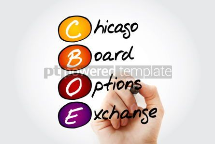 Business: CBOE – Chicago Board Options Exchange acronym with marker bus #11657