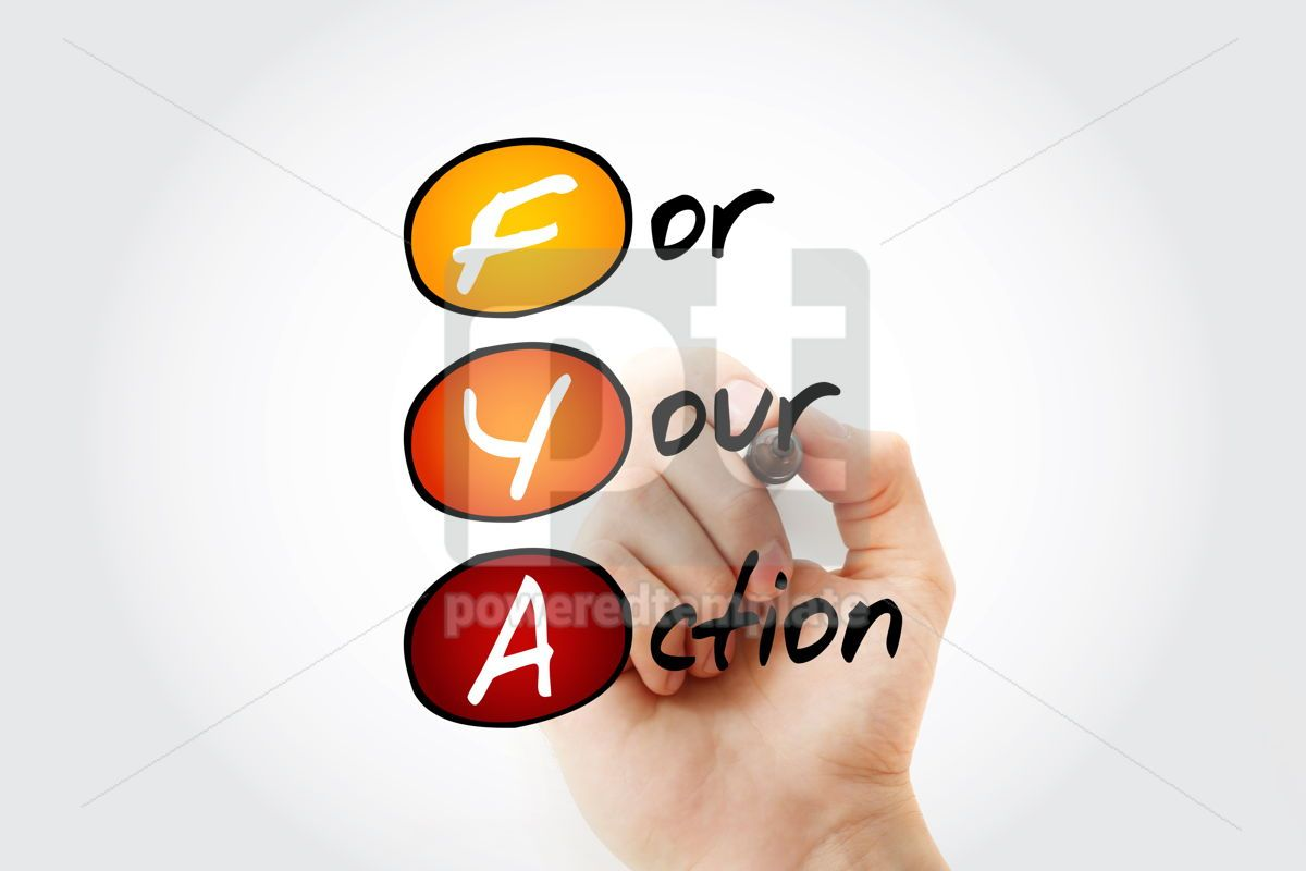 FYA - For Your Action acronym with marker business concept back, 11699, Business — PoweredTemplate.com