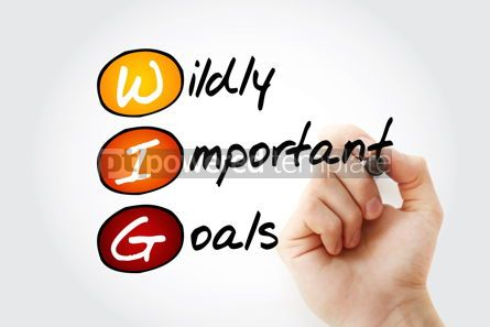 Business: WIG - Wildly Important Goals acronym with marker business conce #11761