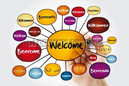 Business: WELCOME in different languages mind map with marker education b #11813