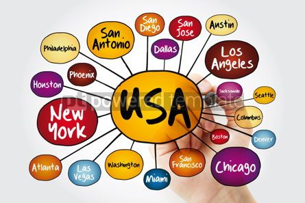 Business: USA cities mind map flowchart with marker travel business conce #11820