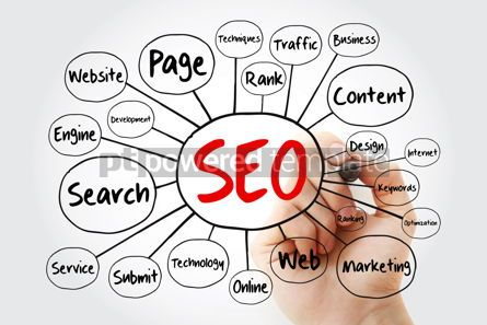 Business: SEO - Search Engine Optimization mind map technology concept wi #11849