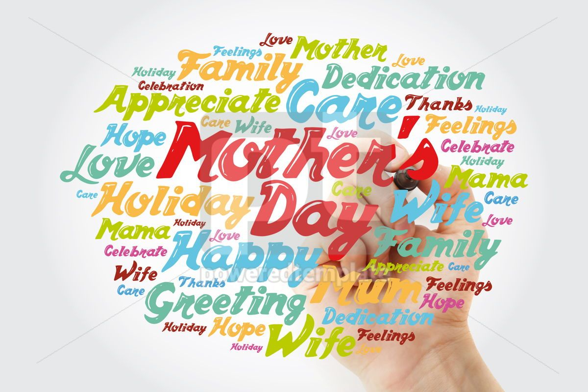 Mother's Day word cloud with marker care love family concept , 11877, Holidays — PoweredTemplate.com