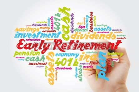 Business: Early Retirement word cloud collage with great terms such as inv #11880