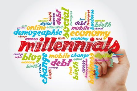 Business: Millennials word cloud with marker concept background #11882