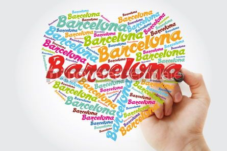Business: Barcelona love heart word cloud with marker travel concept back #11887