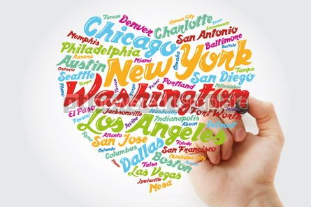 Business: List of cities and towns in USA composed in love sign heart shap #11898