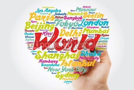 Business: List of cities and towns in the WORLD composed in love sign hear #11902