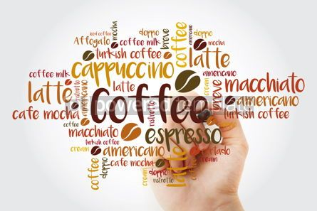 Food & Drink: List of coffee drinks word cloud with marker design background #11937