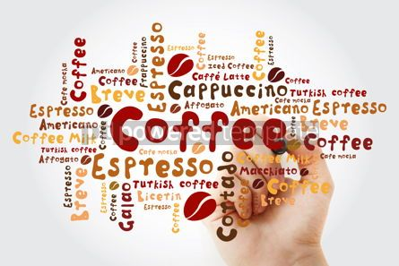Food & Drink: List of coffee drinks word cloud with marker design background #11938