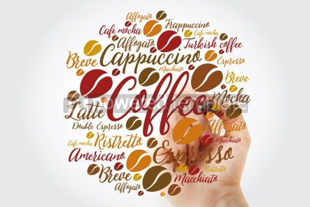 Food & Drink: List of coffee drinks word cloud with marker design background #11940