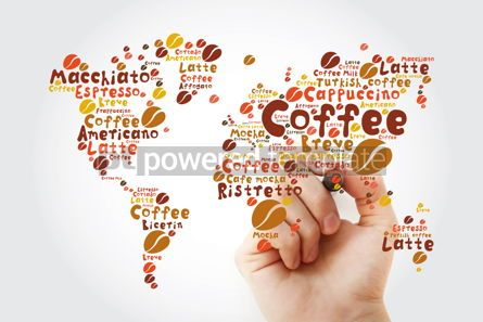 Food & Drink: Coffee drinks word cloud in shape of World Map with marker #11942