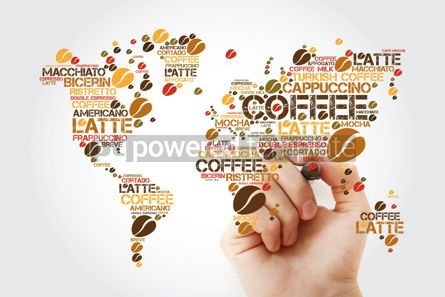 Food & Drink: Coffee drinks word cloud in shape of World Map with marker #11943