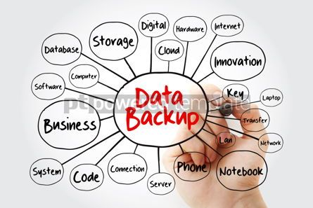 Business: Data Backup mind map flowchart with marker technology concept f #11947