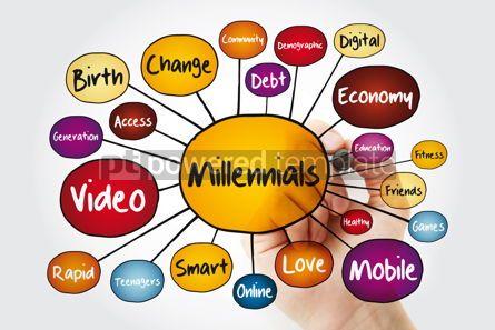 Business: Millennials mind map flowchart with marker social concept for p #11952