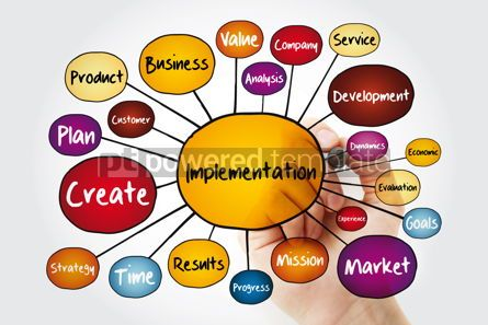 Business: Implementation mind map flowchart with marker business concept  #11955