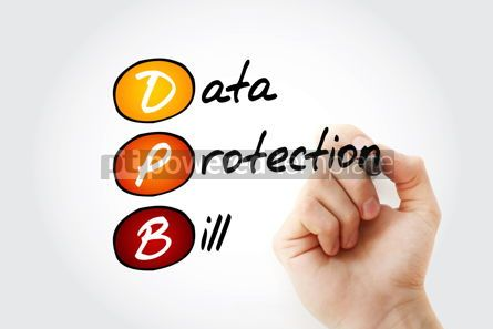 Education: DPB - Data Protection Bill acronym with marker technology conce #12008