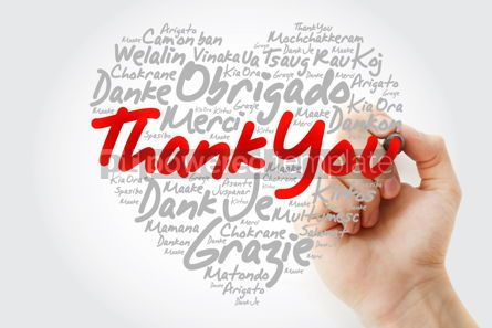 Business: Thank You Love Heart Word Cloud in different languages with mark #12015