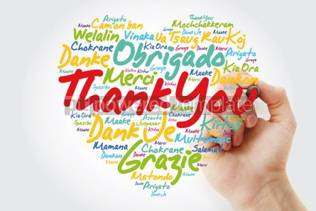 Business: Thank You Love Heart Word Cloud in different languages with mark #12016